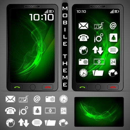 illustration of mobile phone theme with colorful background and application button Vector