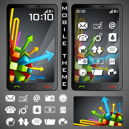 illustration of mobile phone theme with colorful background and application button Stock Illustration - 19694396