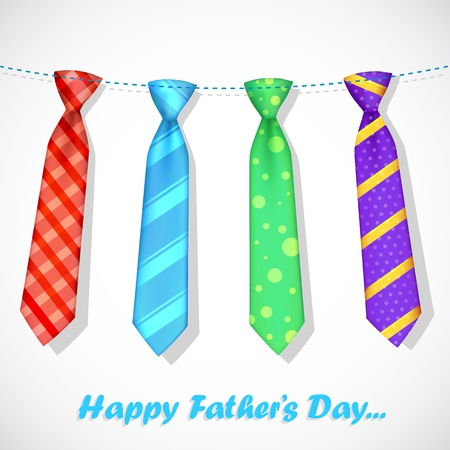 illustration of stylish tie in Father s Day card Vector