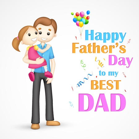 father s day: illustration of father holding daughter in his arm in Father s Day