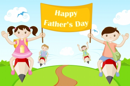 illustration of kds flying with Happy Father s Day banner Vector