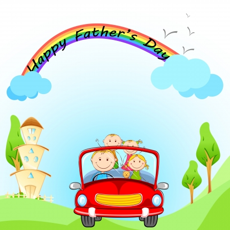 illustration of family traveling in car on Father s Day illustration