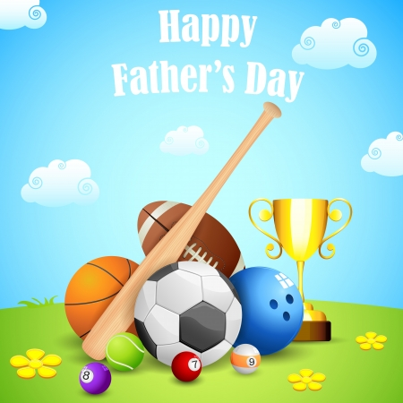 illustration of sports ball and trophy in Father s Day background