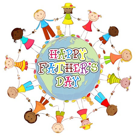 multiethnic: illustration of kids of different country around world wishing Happy Father s Day