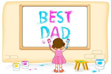 best dad: illustration of girl painting Best Dad on board