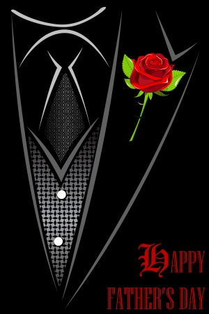 illustration of man in suit with red rose tucked in Happy Father s Day Vector