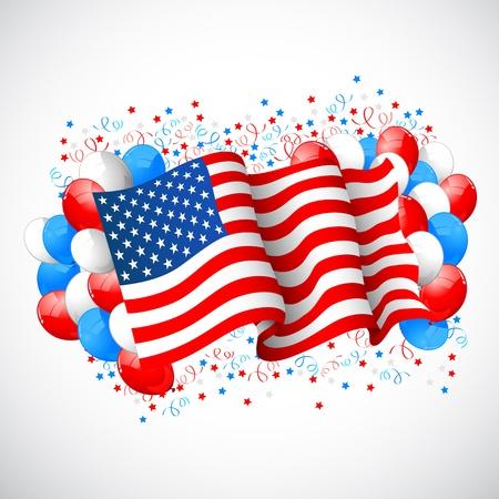 ilustraci�n del globo de colores con la bandera americana para el D�a de la Independencia