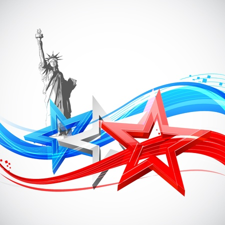 illustration of Statue of Liberty on American flag background for Independence Day Vector