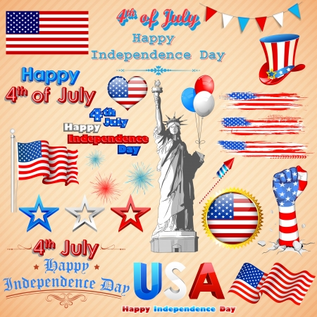 fourth of july: illustration of wavy American Flag for Independence Day Illustration