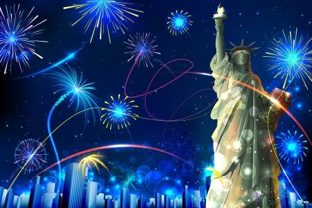 ünneplés: illusztrációja Szabadság-szobor a tűzijáték háttérben Illusztráció