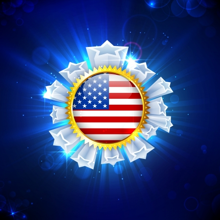illustration of American Flag Badge with star for Independence Day Vector