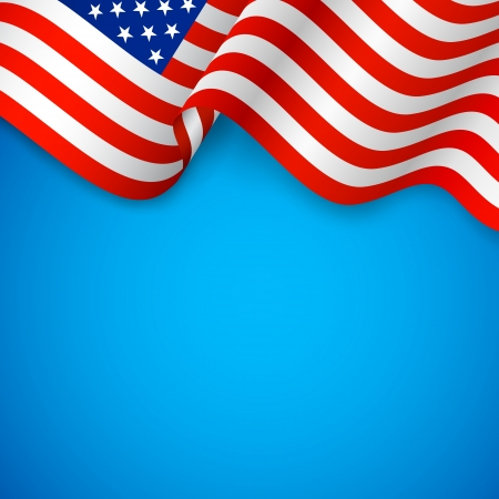 independence day: illustration of wavy American Flag for Independence Day Illustration