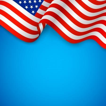 independencia: ondulado ilustraci�n de la bandera americana para el D�a de la Independencia Vectores