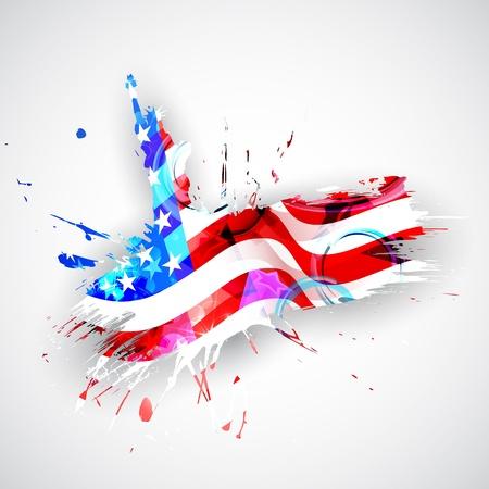 juli: illustratie van de Statue of Liberty op Amerikaanse vlag achtergrond voor Independence Day Stock Illustratie