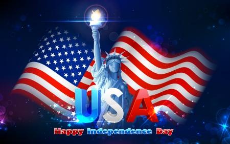 julio: ilustraci?n de la estatua de la libertad en fondo de la bandera americana para el D?a de la Independencia