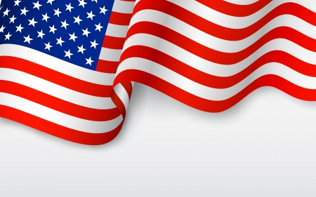 july: illustration of wavy American Flag for Independence Day Illustration