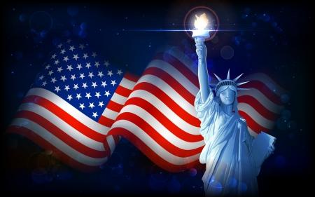 dama de la justicia: ilustración de la estatua de la libertad en fondo de la bandera americana para el Día de la Independencia Vectores