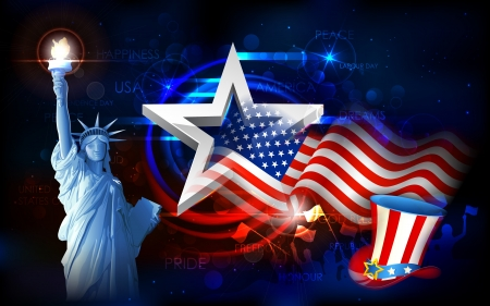 independence day: illustration of Statue of Liberty on American flag background for Independence Day