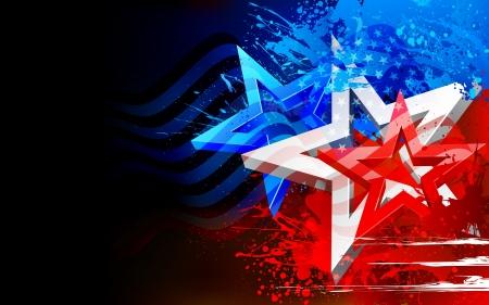 愛国心: 独立記念日のための抽象的なアメリカ国旗のイラスト