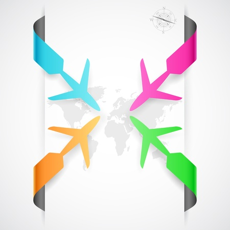 airplane: illustration of paper airplane in travel infographic banner