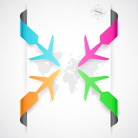 viaje de negocios: ilustraci�n de avi�n de papel en los viajes bandera infograf�a