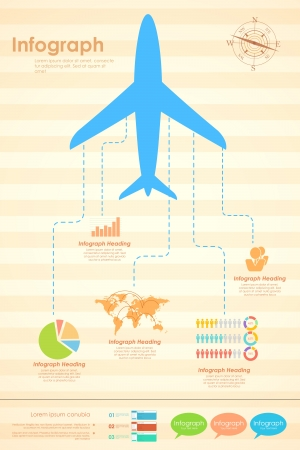 illustration of paper airplane in travel infographic banner Vector