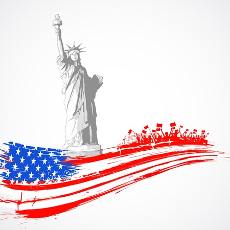 bandera americana: ilustraci�n de la estatua de la libertad con la bandera americana para el D�a de la Independencia
