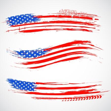 columbus: ilustraci�n de sucio de la bandera americana de la bandera por el D�a de la Independencia Vectores