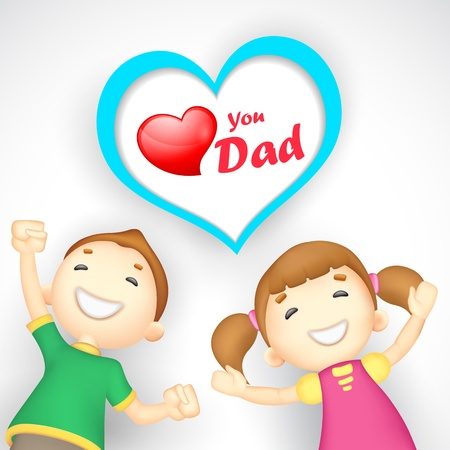 siblings: illustration of kids wishing Love you Dad Illustration