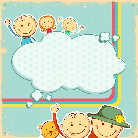illustration of kids in abstract background Vector