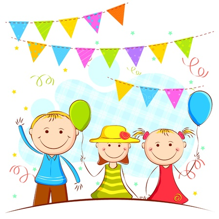 birthday party: illustration of kids in celebration background