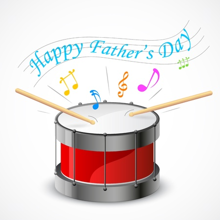 illustration of Happy Father s Day music tune coming out of drum Vetores