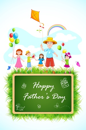 illustration of father playing with kids on Father s Day Vector