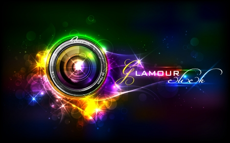 abstract aperture: illustration of camera lens in glamour background Illustration