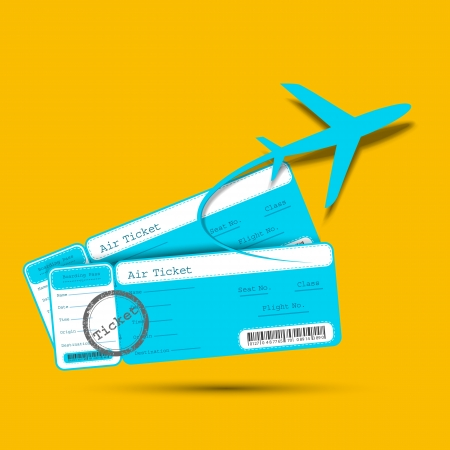 illustration of flight ticket with airplane Vector