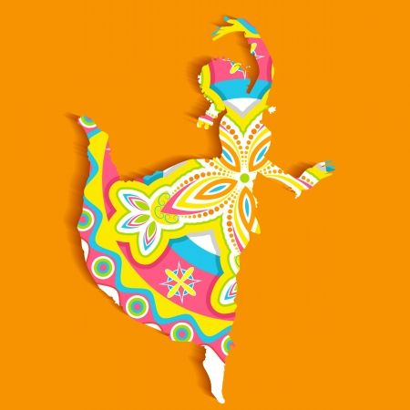 illustration of Indian classical dancer performing bharatnatyam Vector