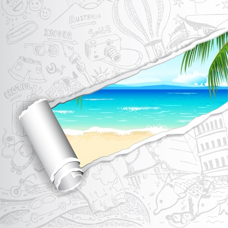 sea shore: illustration of sea beach view in travel doodle paper