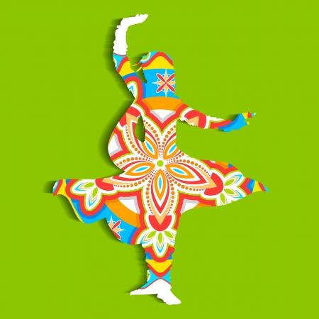 kathak: illustration of Indian classical dancer performing kathak Illustration
