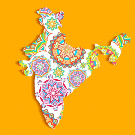 illustration of Indian map with colorful pattern Stock Vector - 20322289