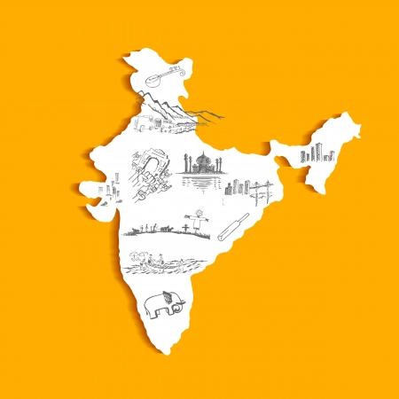 india city: illustrazione della mappa indiana con la cultura scarabocchio Vettoriali