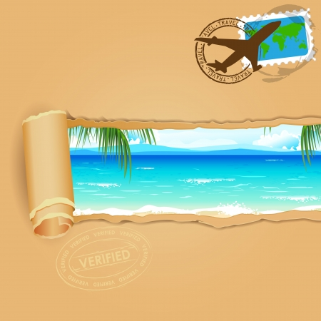 beach scene: illustration of sea beach view in travel parcel with stamp