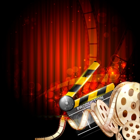 cinematic: illustration of Cinema background with clapper board and film reel