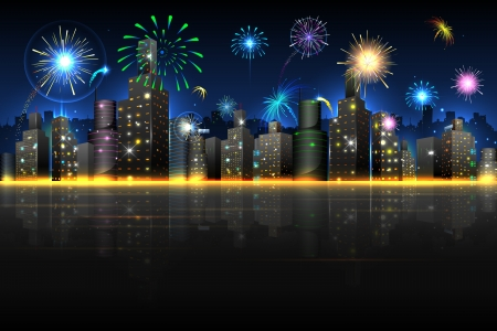 city skyline night: illustration of firework in night view of city