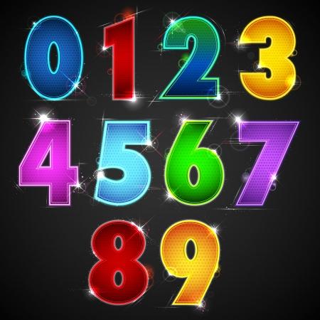 0 6: illustration of set of glowing shiny number