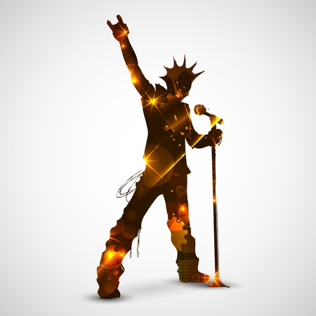 illustration of rock star singing for musical design Vector