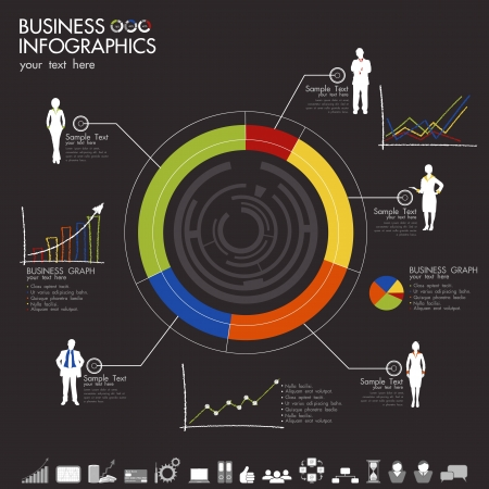 illustration of business infographic with graph and businesspeople Vector