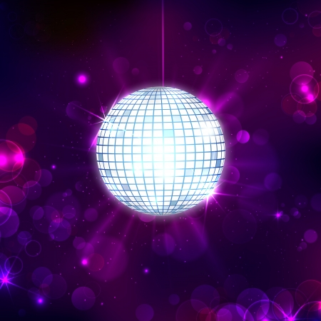 Mirror Ball: illustration of glittery disco ball on abstract background