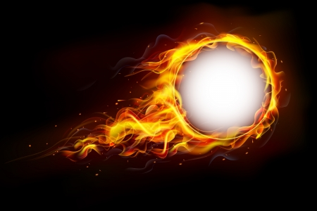 illustration of fire flame in circular frame with musical notes