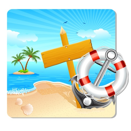 illustration of lifebouy and anchor with holiday board on sea beach Vector