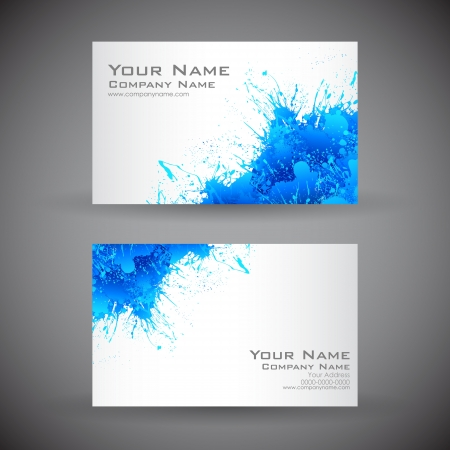 business card layout: illustration of front and back of corporate business card